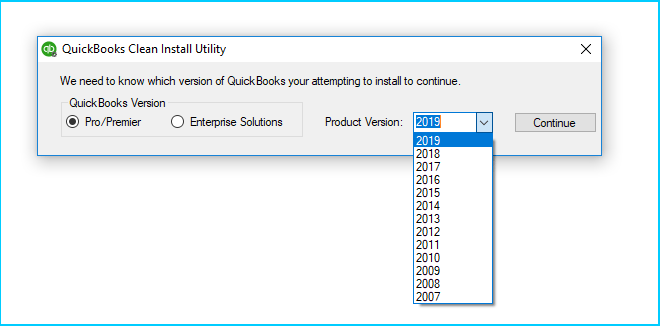 Select-QuickBooks-version-and-product-version-in-clean-install-tool-Screenshot