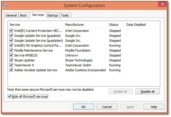 Installation of the QuickBooks in selective start up