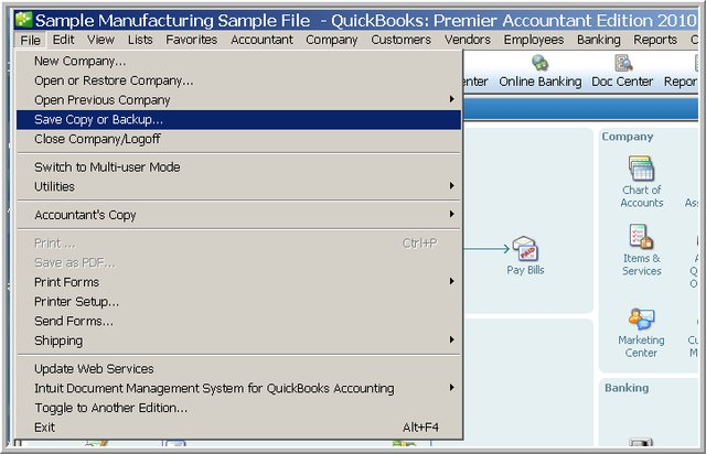Move Your Company file to another loction